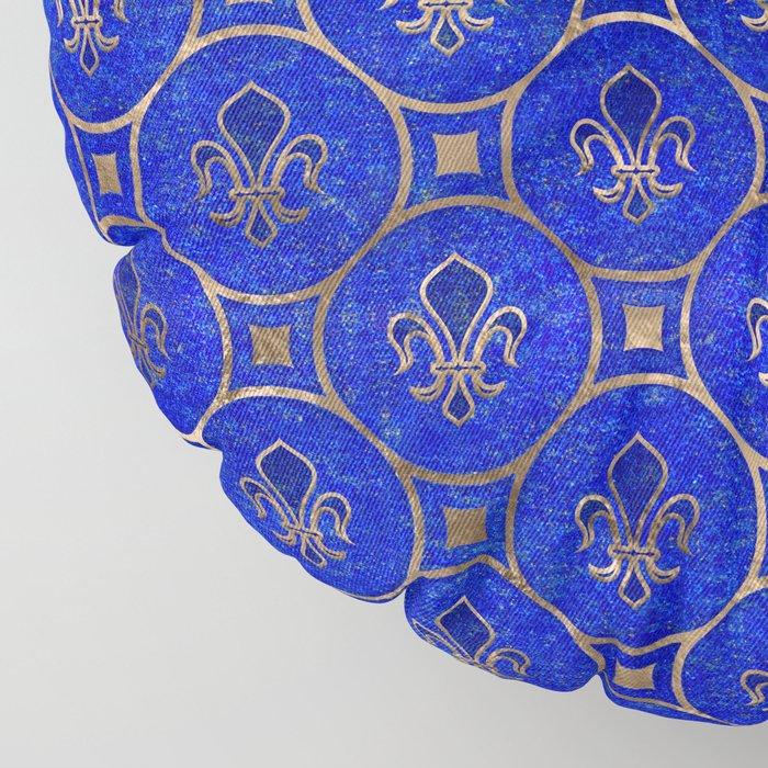 Fleur-de-lis pattern - Lapis Lazuli and Gold Floor Pillow