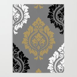 Decorative Damask Pattern BW Gray Ochre Poster
