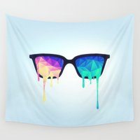 lsd Wall Tapestries featuring Psychedelic Nerd Glasses with Melting LSD/Trippy Color Triangles by badbugs_art