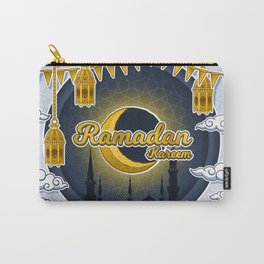 Ramadan Kareem in Golden 3D Word on The Crescent Moon and Silhouette Mosque of Prophet Muhammad's Carry-All Pouch