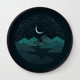 Between The Mountains And The Stars Wall Clock