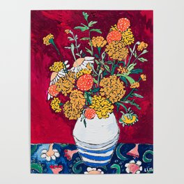 Marigold, Daisy and Wildflower Bouquet Fall Floral Still Life Painting on Eggplant Purple Poster