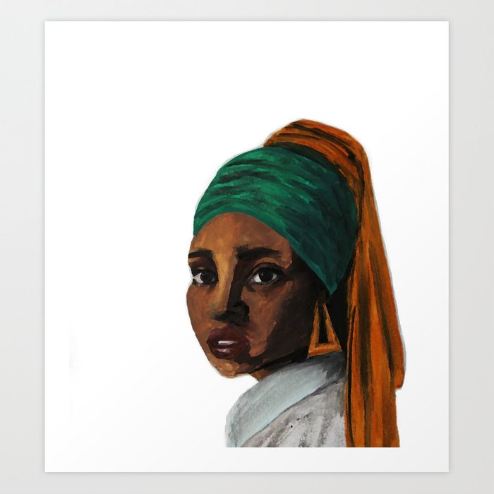 The Girl with the Doorknockers Art Print