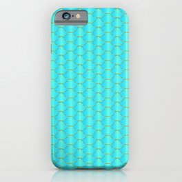 Mermaid pattern. Blue, mint green and gold fish scale texture iPhone Case