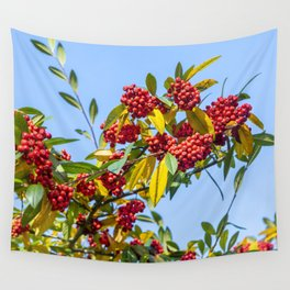 Red Winter Berries Wall Tapestry