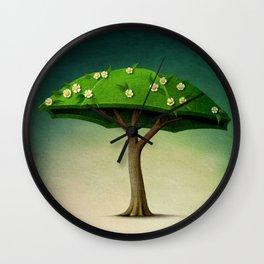 A umbrella  single flowering tree Wall Clock