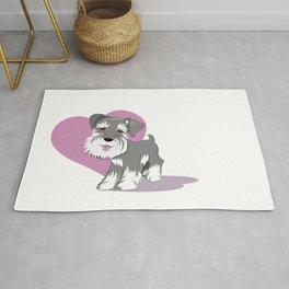 Miniature Schnauzer Puppy Dog Adorable Baby Love Rug