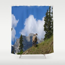 Ram Against Mountain Backdrop Shower Curtain