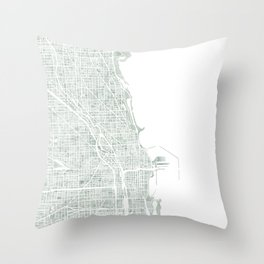 Map Chicago city watercolor map Throw Pillow