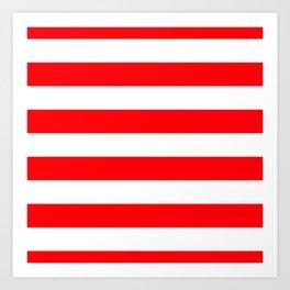 Christmas Red and White Cabana Stripes Art Print