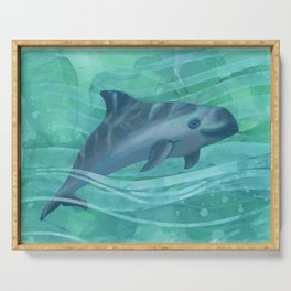 Vaquita Porpoise Swimming in Emerald Waters Serving Tray