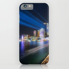 Laser Show above the Sydney Skyline iPhone Case
