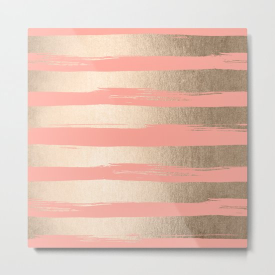 Painted Stripes Tahitian Gold on Coral Pink Metal Print
