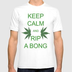 Keep Calm and Rip a Bong Mens Fitted Tee White MEDIUM