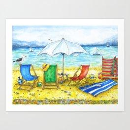 Deckchairs Art Print