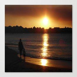 Sunset Silhouette Mandurah Western Australia Canvas Print