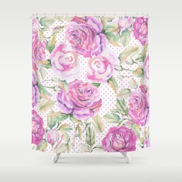 Watercolor hand painted pink lavender roses polka dots Shower Curtain