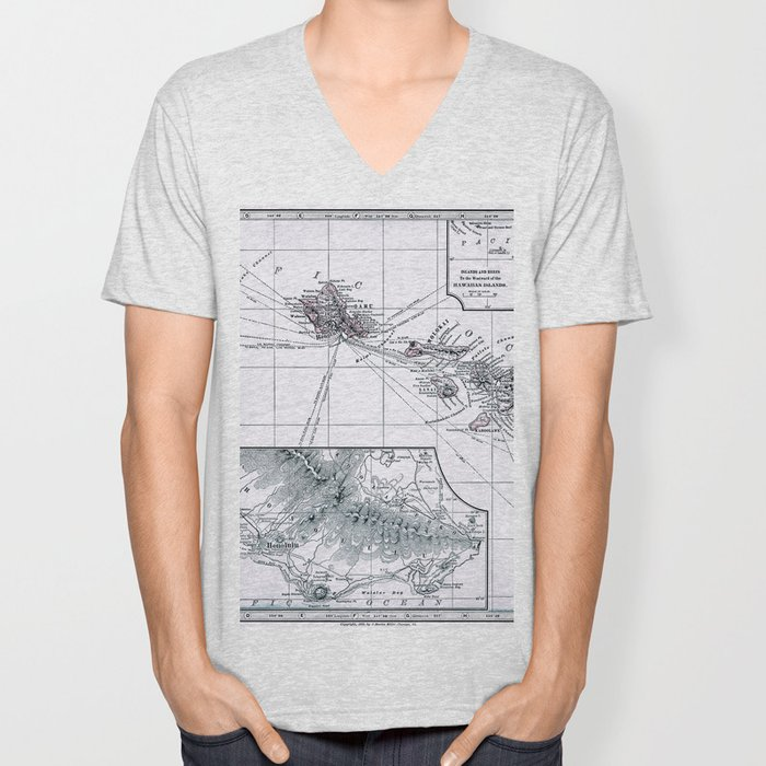 Vintage Hawaii Map 1899 Unisex V-Neck