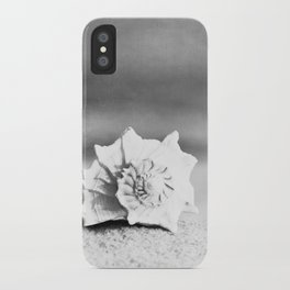 Black and White Beach Photography, Grey Seashell Art, Neutral Shell Photo, Gray Conch Shell Print iPhone Case