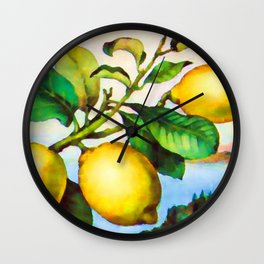 Branch of a lemon tree in autumn Wall Clock