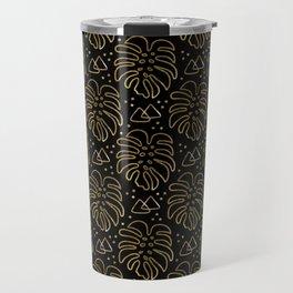 Gold Monstera on Black Travel Mug