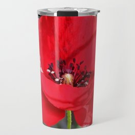 Single Red Poppy Flower  Travel Mug