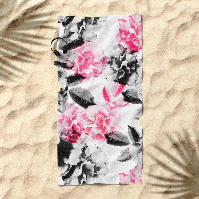Rose Garden in Pink and Gray Beach Towel