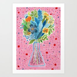 Pink Vase with Flowers Art Print