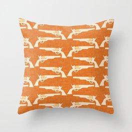 Wild West - Gun Orange Throw Pillow