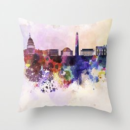 Washington DC skyline in watercolor background  Throw Pillow