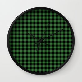 Classic Green Country Cottage Summer Buffalo Plaid Wall Clock