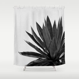 Agave Cactus Black & White Shower Curtain