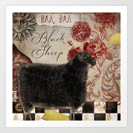 Baa Baa Black Sheep Art Print