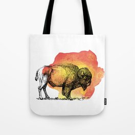 American Bison on Sunset Orange Watercolor Tote Bag