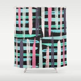 Modern Artsy Pink Girly Brushstroke Stripes Black Shower Curtain