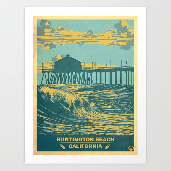 Vintage Huntington Beach Poster Art Print