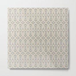 Ikat Teardrops in Tan and Gray Metal Print