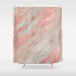 Marble Rose Gold White Marble Foil Shimmer Shower Curtain