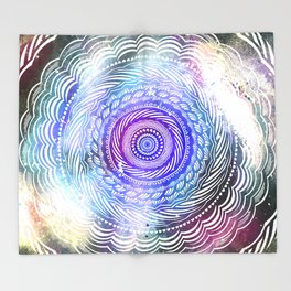 Modern Mandala Spiral Galaxy Space Textured Multi Colored / Purple Pink Orange Gray Black Throw Blanket