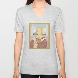 Lady with Unicorn by Raphael Unisex V-Neck
