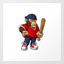 Gorilla Holding Softball Hitting Stick Art Print