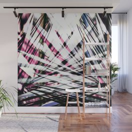 Abstract Tropical Black and Pink Jungle Leaves Wall Mural