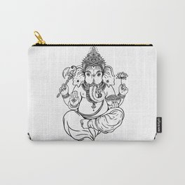 Ganesha black and white tile Carry-All Pouch