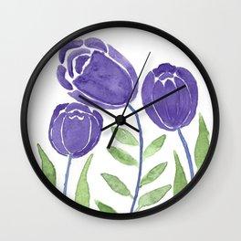 Violet Flower Trio Wall Clock