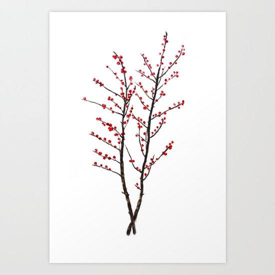 red beans branch Art Print