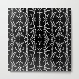 Vines Kaleidoscope (white on black) Metal Print