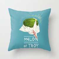 caleb troy Throw Pillows featuring Melon of Troy by Dav Yendler