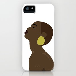 Woman with large earring iPhone Case