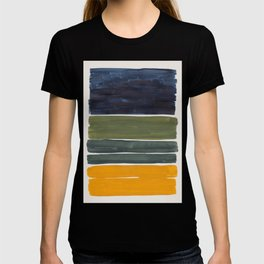 Minimalist Mid Century Color Block Color Field Rothko Navy Blue Olive Green Yellow Pattern by Ejaaz Haniff T-shirt