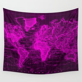 Vintage Map of The World (1833) Black & Pink  Wall Tapestry